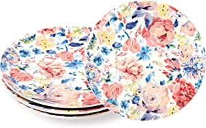 Sonemone Pink Spring Meadow 8.75 inch Scalloped Salad Plates, Set of 4, for Salad, Appetizer, Microwave & Dishwasher Safe