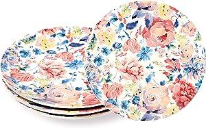 Sonemone Pink Spring Meadow 8.75 inch Scalloped Salad Plates, Set of 4, for Salad, Appetizer, Microwave & Dishwasher Safe