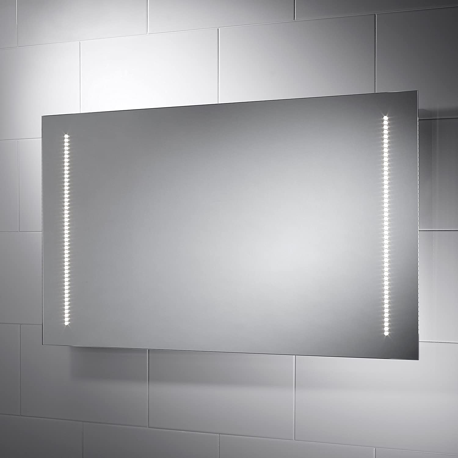 Large Rectangular Assisi LED Illuminated Bathroom Mirror With Lights Size 1000mmW X 600mmH Infra Red Sensor Switch Dual Voltage Shaver Socket