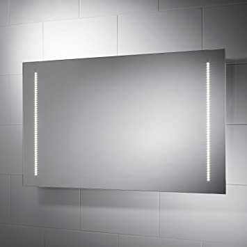 Pebble Grey Large Rectangular Assisi LED Illuminated Bathroom Mirror With Lights Size 1000mmW