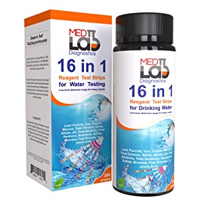 16 in 1 Drinking Water Test Kit Strips, 200 cnt. Home Water Quality Test for Tap Water, Pool, Spa. Strips for Water Hardness, Total Chlorine, Mercury, Lead, Aluminum, Fluoride, Iron, pH and More