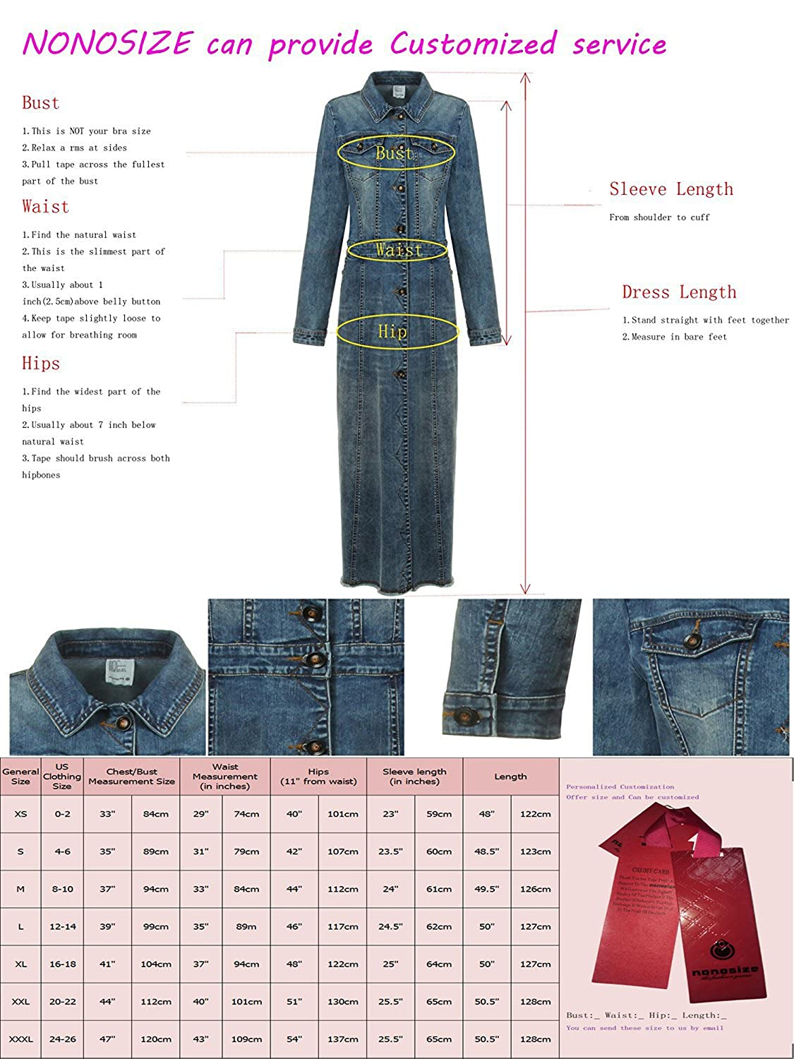 fa0243fe1f4 NONOSIZE Women s Long Sleeves Button Down Dress Lapel Casual Jacket Long  Denim Dress with Pockets at Amazon Women s Clothing store