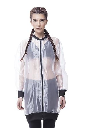 Blanc Bomber Organza Red Transparent Longues Blouson Femme Decoct cTlFJ1K