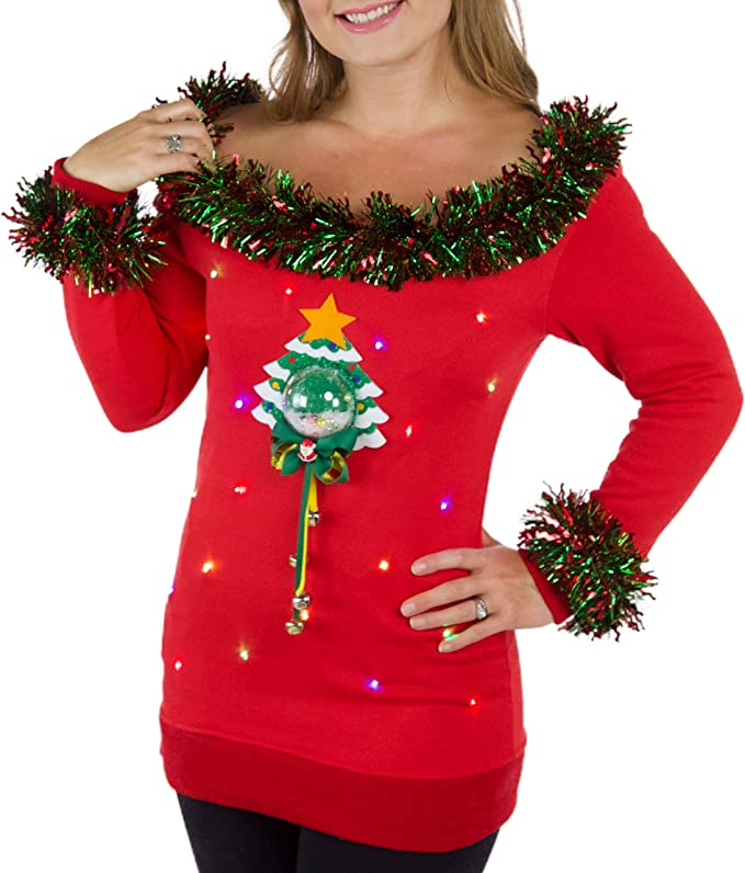 Ugly Christmas Sweater Womens Light Up Ugly Christmas Sweater With 3D Snow Globe ugly christmas sweaters for women