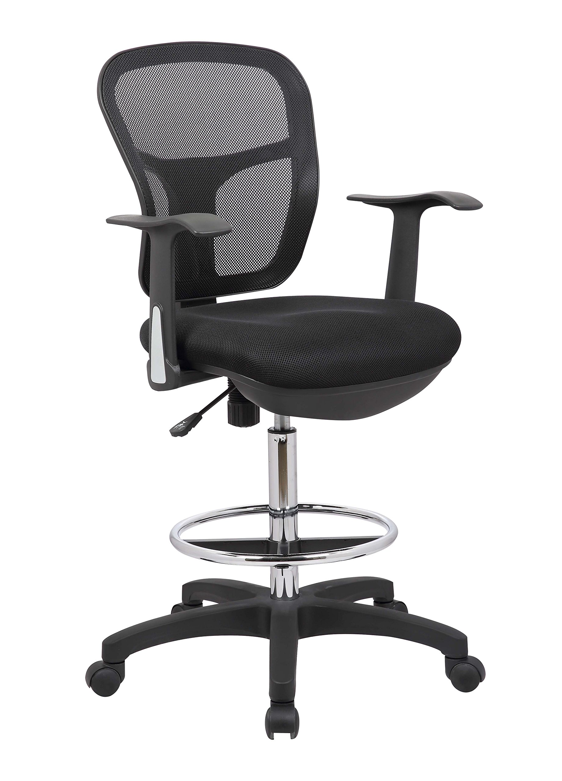Office Factor Drafting Chair with Foot Ring, Mesh Back Drafting Clerk Stool, Adjustable Height, Removable Arms Swivel Chair for Office and Home by OFFICE FACTOR