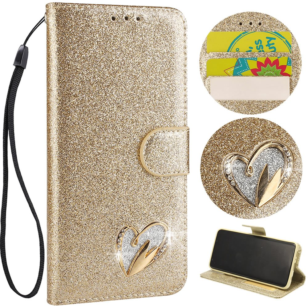 Stysen Wallet Case for iPhone 8 4.7'',Glitter Leather Case for iPhone 7 4.7'',Glitter Gold Love Heart ShapeWrist Strap Flip Case Cover for iPhone 8 4.7''/7 4.7''-Love Heart,Gold