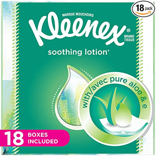 Kleenex Lotion Facial Tissues with Aloe & Vitamin E, Cube Box, 75 Count per Cube Box, Pack of 18