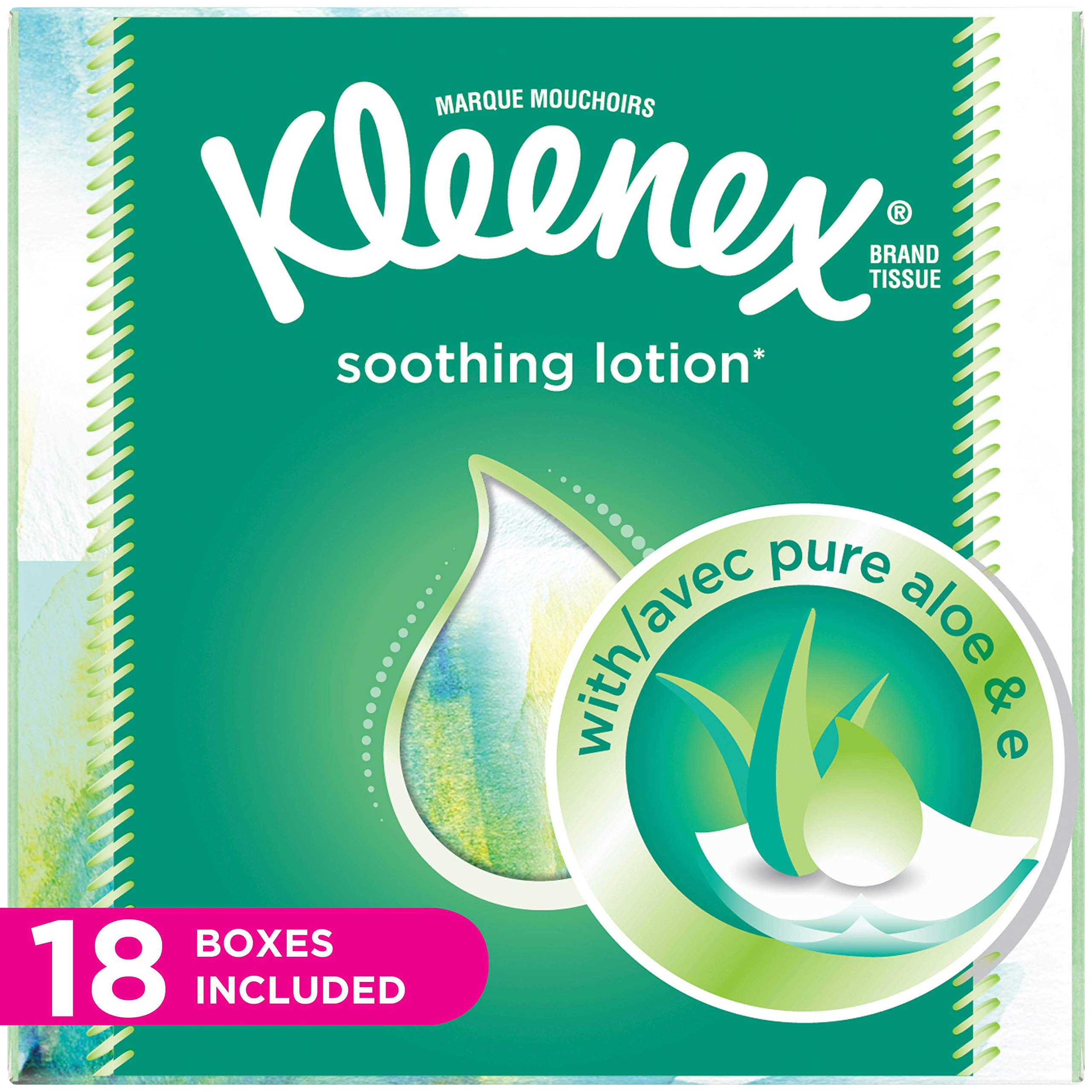 Kleenex Lotion Facial Tissues with Aloe & Vitamin E, Cube Box, 75 Tissues per Cube Box, 18 Packs