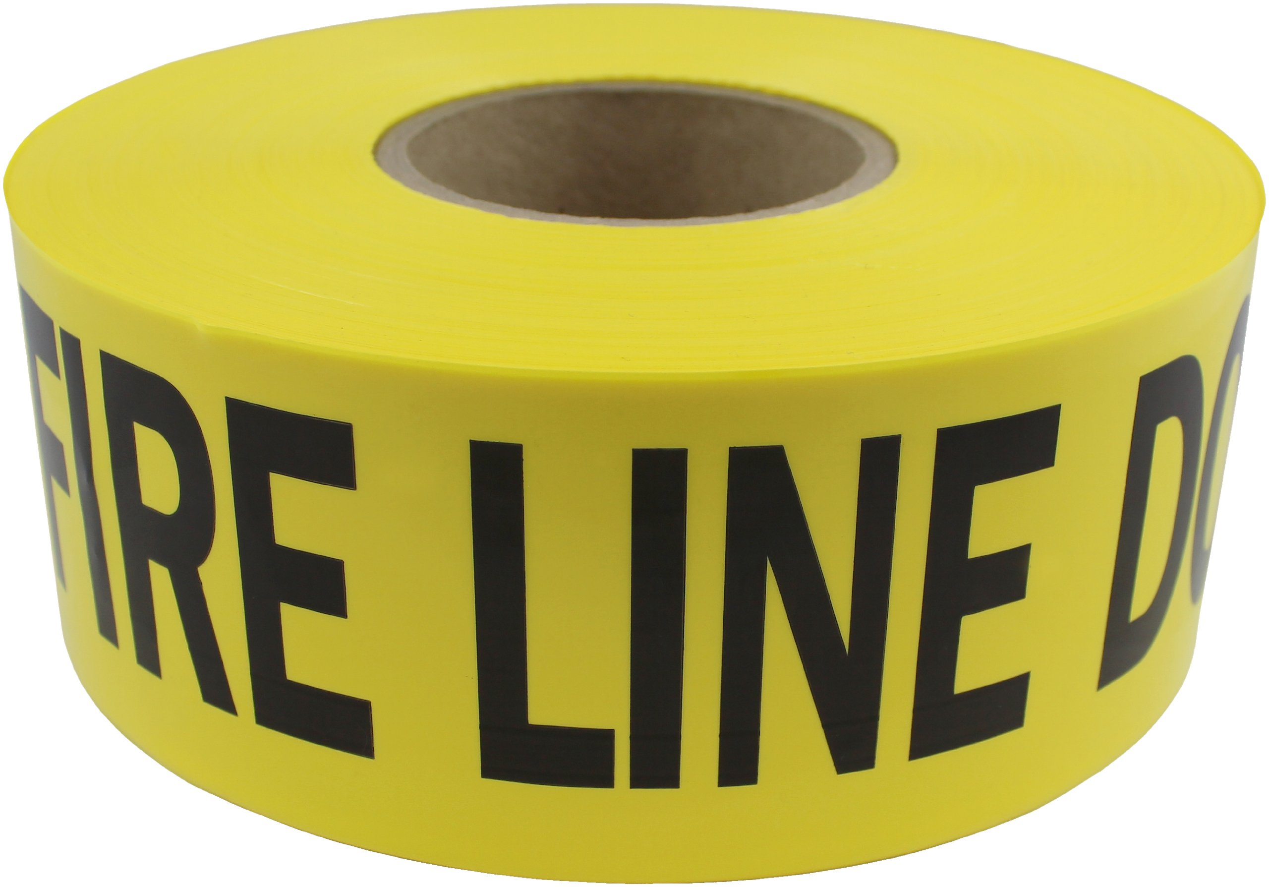 Presco B3103Y15-658 1000' Length x 3'' Width x 3 mil Thick, Polyethylene, Yellow with Black Ink Barricade Tape, Legend ''Fire Line Do Not Cross'' (Pack of 8)