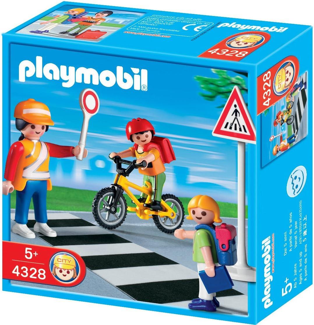 PLAYMOBIL - Cruce con Guardia y niños, Set de Juego (4328): Amazon ...