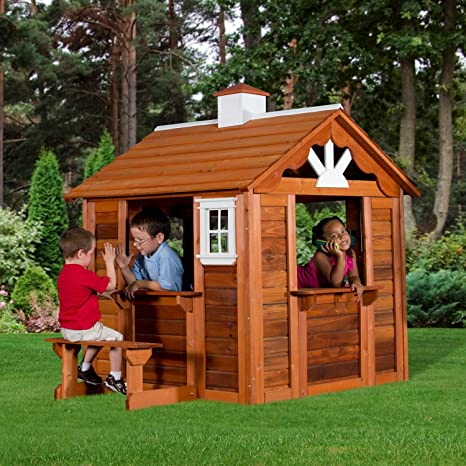 Amazon.com: Children Playhouse Kids Play Fun Outdoor Garden Log Cabin Fort  Cottage Backyard: Toys U0026 Games