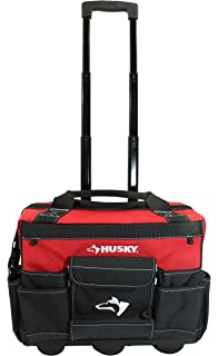 husky pro tool bag. husky 18 inch 600-denier red water resistant contractor\u0027s rolling tool tote bag w/ pro