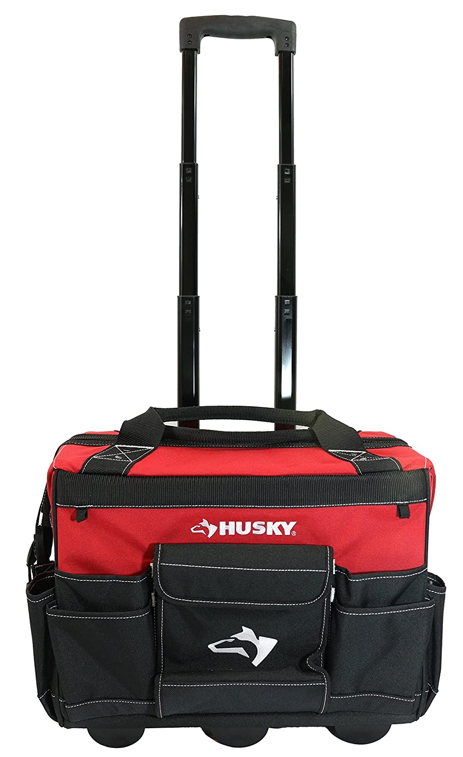 Husky 18 Inch 600-Denier Red Water Resistant Contractor's Rolling Tool Tote Bag w/ Telescoping Handle GP-43196N13