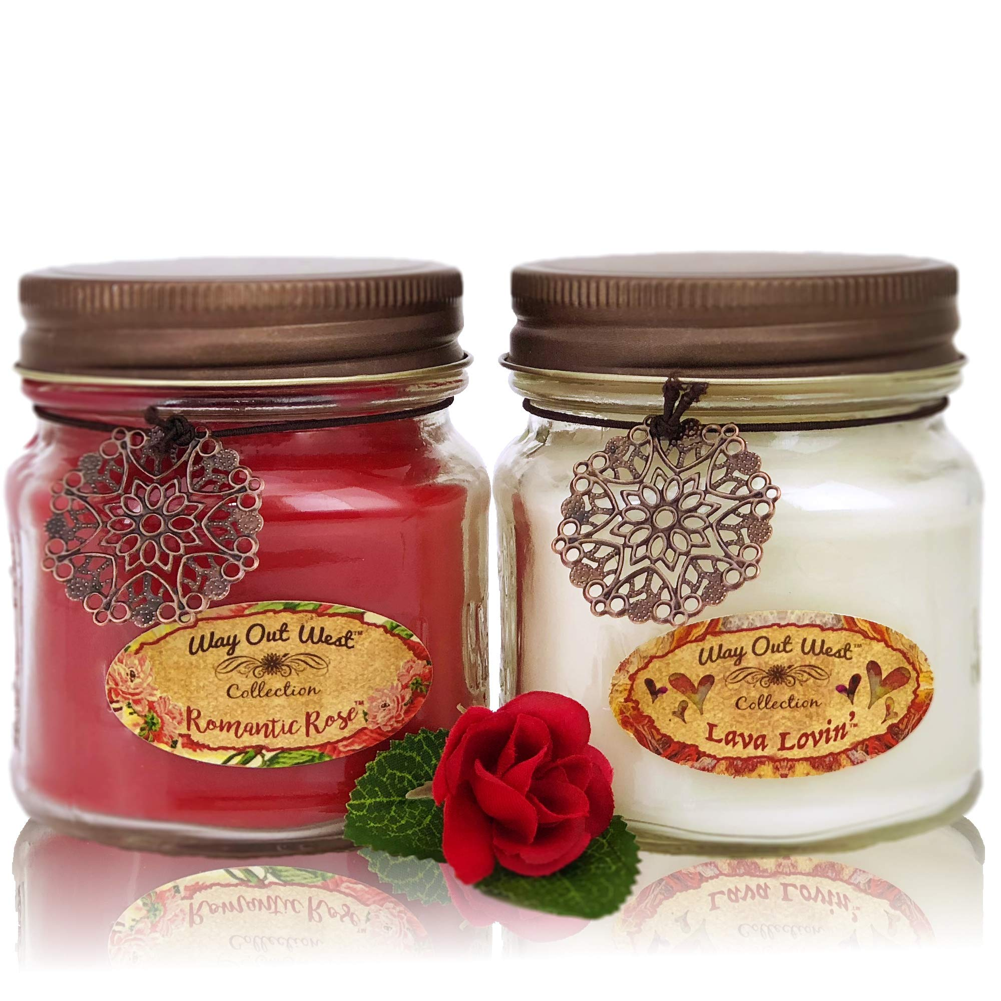 Way Out  West Romantic Jar Candles Scented Set of 2 - Soy Wax Blend- Fragrant, Romantic Rose & Lava Lovin' -Tropical Citrus- Best Gift Idea Anniversary Wedding Day - Made in USA Candles