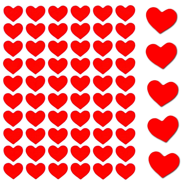 600 x Rote Herz Sticker Selbstklebend Glänzend Scrapbooking Deko Kinder
