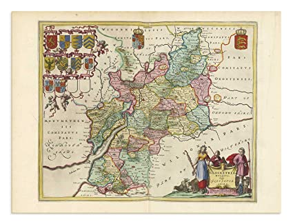 Map Of England Gloucestershire.Amazon Com The Blaeu Prints Gloucestershire England Historical