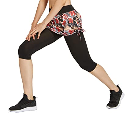 d425def192dfc HonourSport Womens Capri Tennis Skirted Leggings Drawstring at Waist and  Side Gym Workout Tights Pants Active Running Bottoms
