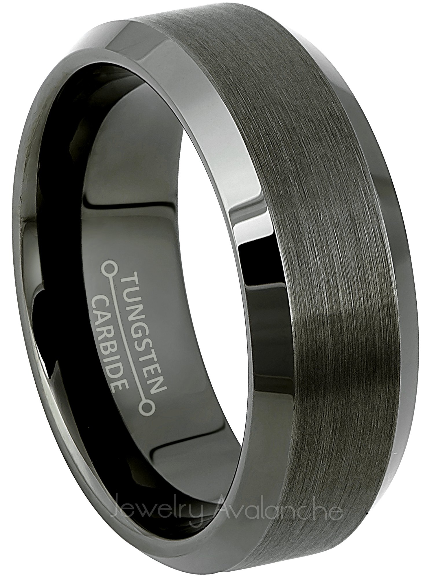 Jewelry Avalanche Beveled Gunmetal Tungsten Ring - Men's Tungsten Carbide Wedding Band - Anniversary Band - s9.5