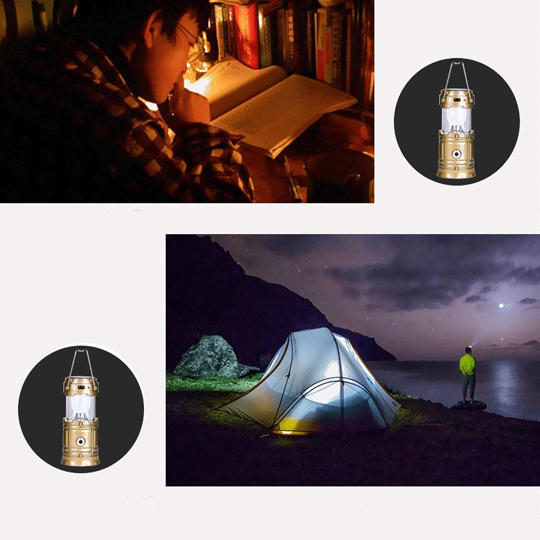 Impermeable para Camping,Luz de Emergencia,Pesca,Senderismo,Exterior e Interior Solar Exterior Faroles Port/átiles LED L/ámpara Exterior Plegable Gold USB Cargada S/&G Top Lampara de Camping