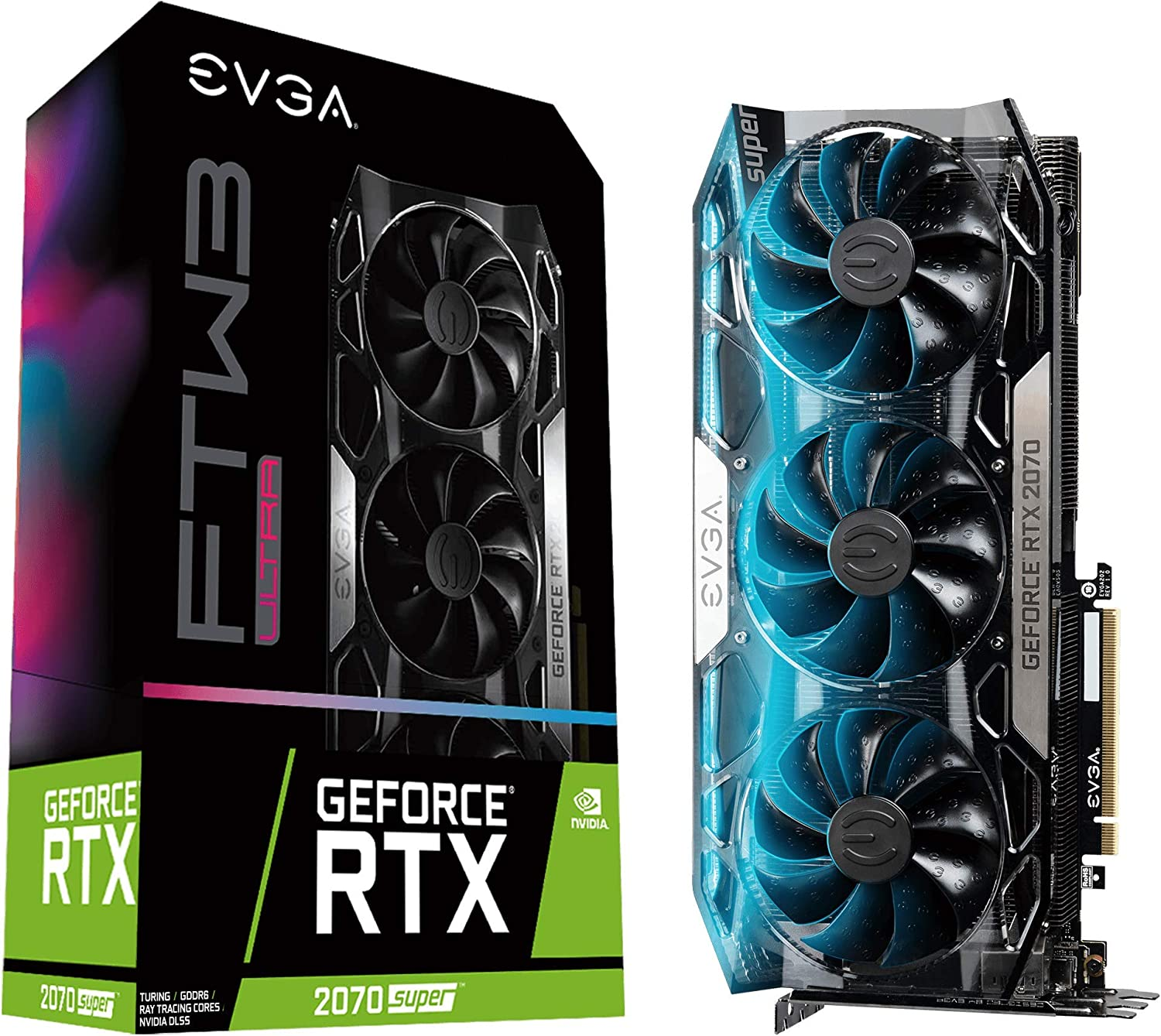 EVGA GeForce RTX 2070 Super FTW3 Ultra, Overclocked, 2.75 Slot Extreme Cool Triple + iCX2, 65C Gaming, RGB, Metal Backplate, 8GB GDDR6, 08G-P4-3277-KR