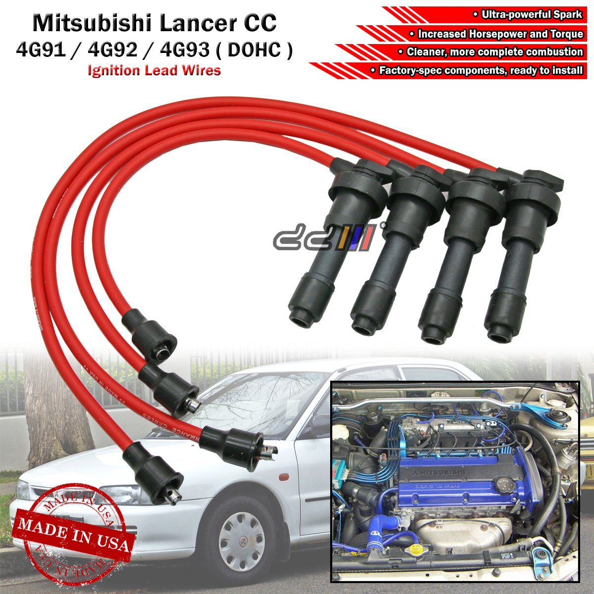Mitsubishi 4g92 Wiring Diagram Sustec 8mm Spark Plug Cable Ignition Wire Set For Colt Lancer Mirage 15l 16l 18l 4g91 4g93 T Dohc Ca3a Ca4a Ca5a Cb3a