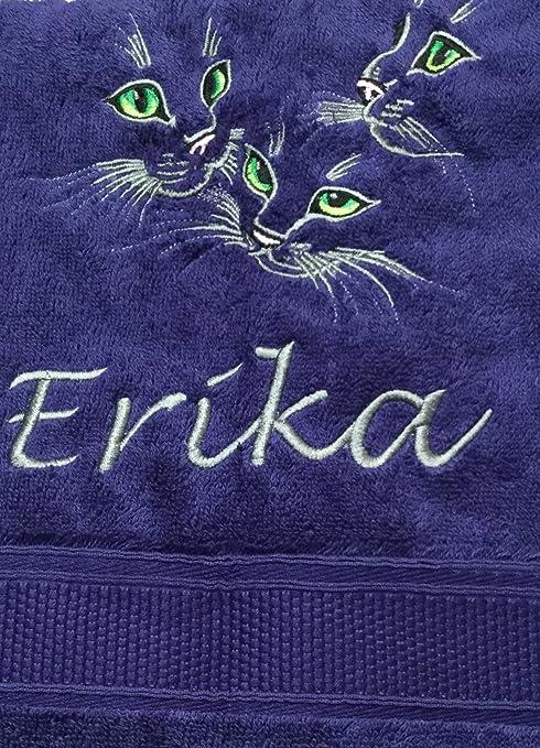 Toalla de baño con diseño de gato con diseño de gatos y nombre bordado, 70 x