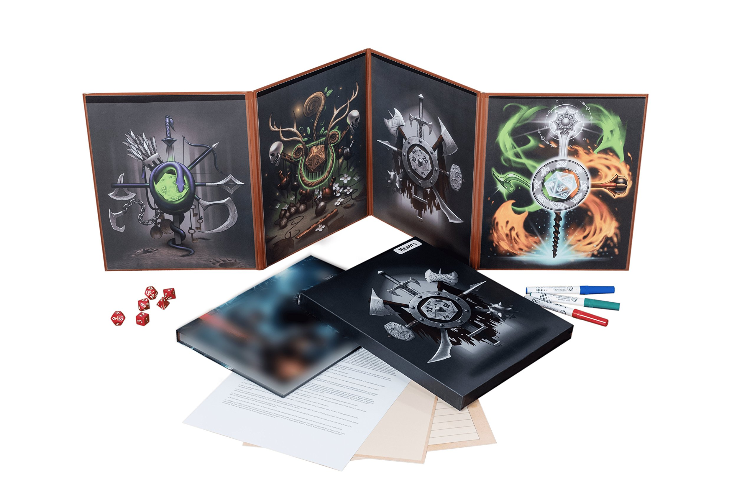 Hexers Game Master Screen - Dungeons and Dragons D&D DND DM Pathfinder RPG Role Playing Compatible - 4 Customizable Panels - Inserts Included That Slide into The Pouches - Dry Erase Tracker Sheet by Hexers (Image #8)