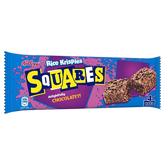 Kelloggs Barritas Squares - 2 Paquetes de 4 barritas - Total: 288 gr