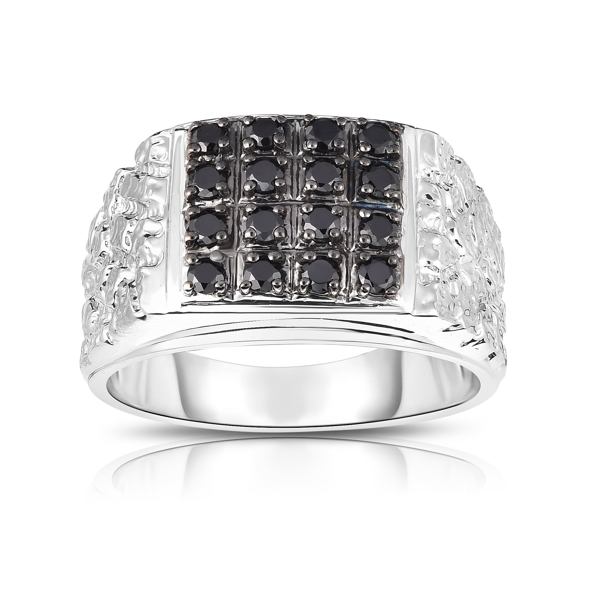 Noray Designs 14K White Gold Black Diamond (0.53 Ct, I1-I2 Clarity, Black Color) Men's Ring