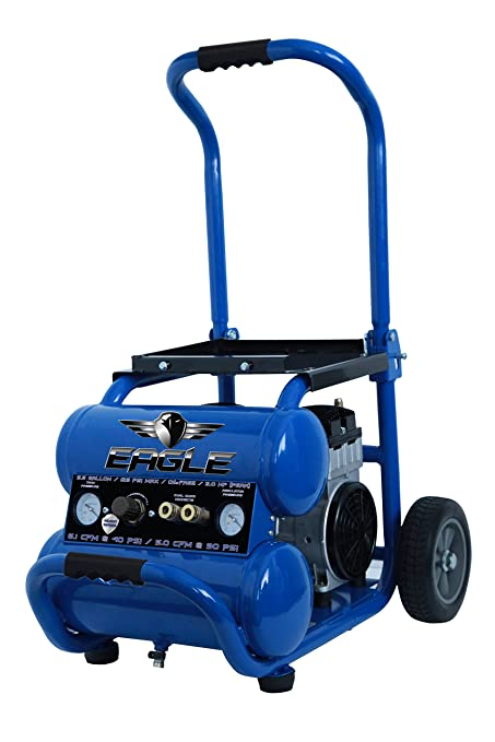 Eagle EA-5000 Silent Series 5000 Air Compressor 125 psi MAX Side Stack with wheels, Blue, 5 gallon - - Amazon.com