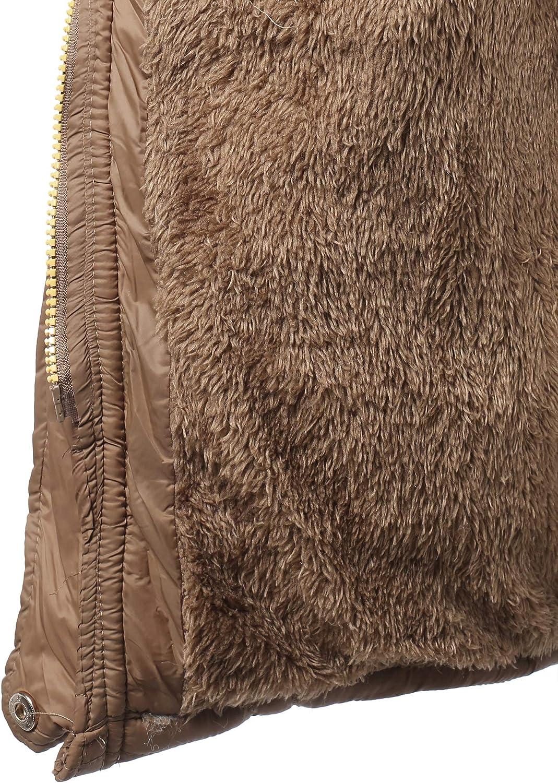 Awesome21 Women's Solid Hooded Warm Winter Thicken Fleece Lined Parkas Long Jacket Aawcjl0051 Brown