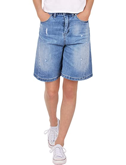 cb627baf7ce6 Fraternel Damen lange Jeans Shorts kurze Hose ausgestelltes Bein ...