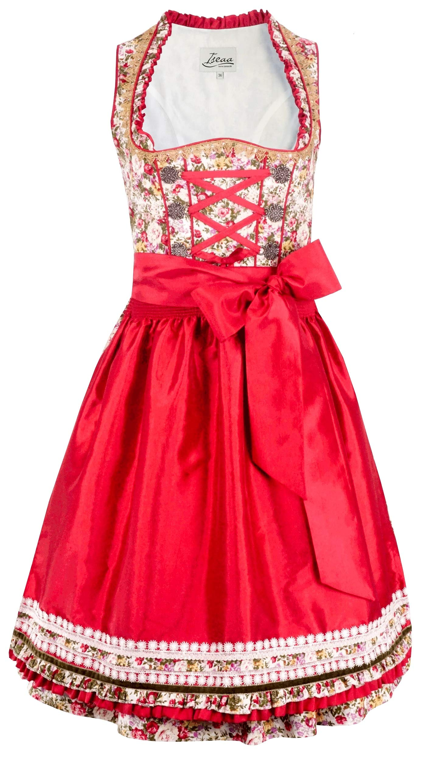 Exclusive Dirndl 2 pcs. Tiara Traditional Dress with Apron 42 Red
