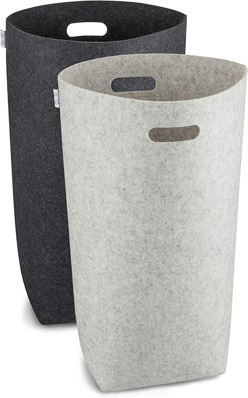 in grau und schwarz Eleganter W/äschesammler mit ergonomischen Griffen Elwin Neiles Premium W/äschekorb aus Filz faltbar und mit praktischem Sichtschutz je 80 Liter 68 cm x 39 cm