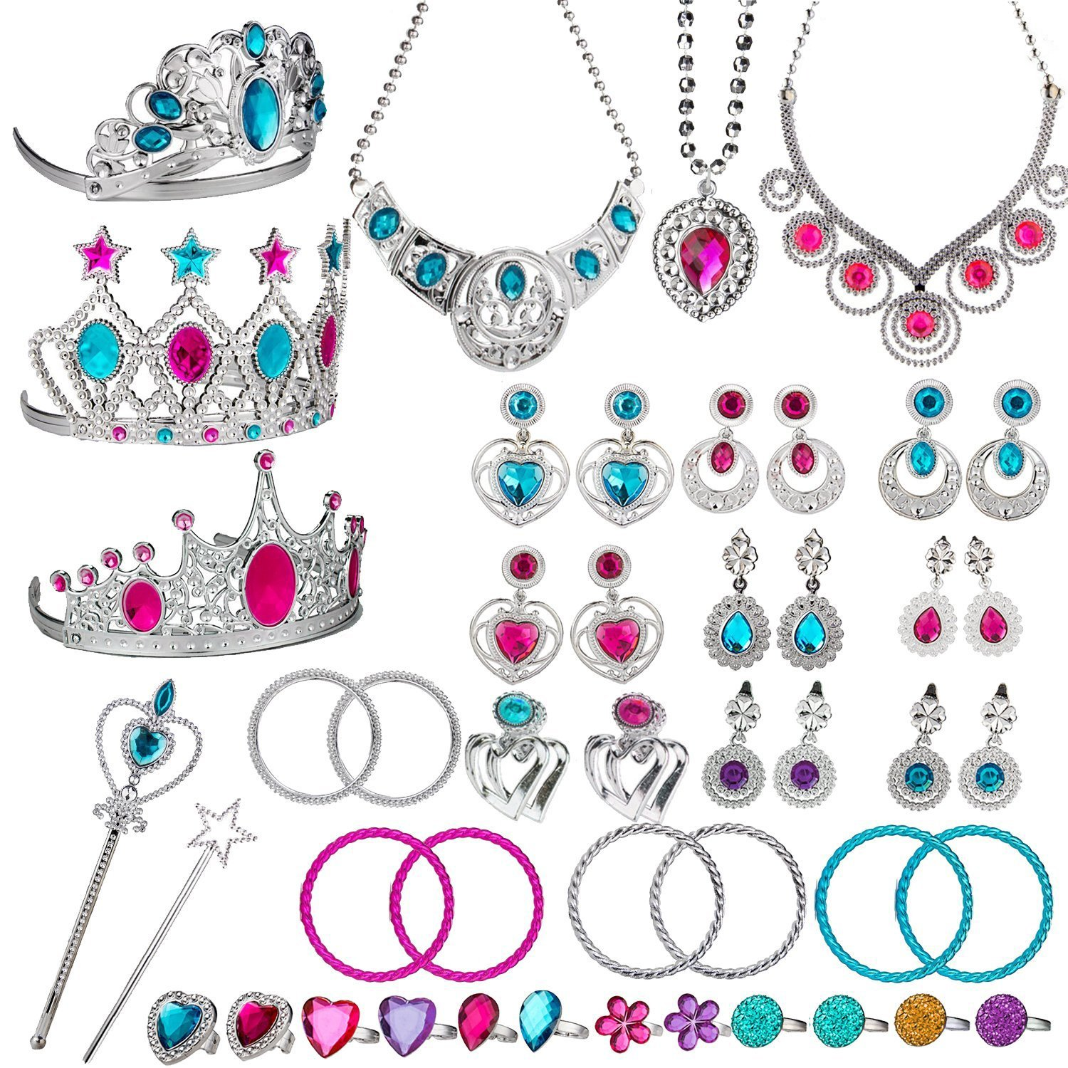 WATINC 46Pack Princess Pretend Jewelry Toy,Girl's Jewelry Dress Up Play Set,Included Crowns, Necklaces,Wands, Rings,Earrings and Bracelets,46 Pack Girl's Jewelry Dress Up Play Set