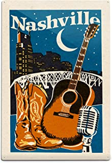 product image for Lantern Press Nashville, Tennessee - Woodblock 76713 (6x9 Aluminum Wall Sign, Wall Decor Ready to Hang)