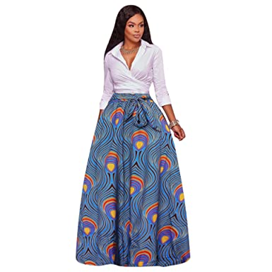 282a10d1ae Image Unavailable. Image not available for. Color: Womens Plus Size Floral Print  High Waist Maxi Skirt ...