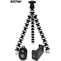 SICHER 10-inch Gorilla Mini Tripod with Mobile Attachment and Bluetooth Remote for Phone/DSLR Camera (Black and White)