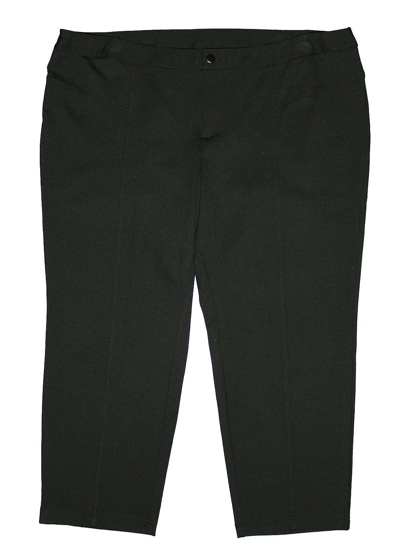 INC Women's Plus Tapered Straight Leg Casual Ponte Knit Pants 24w Petite Black