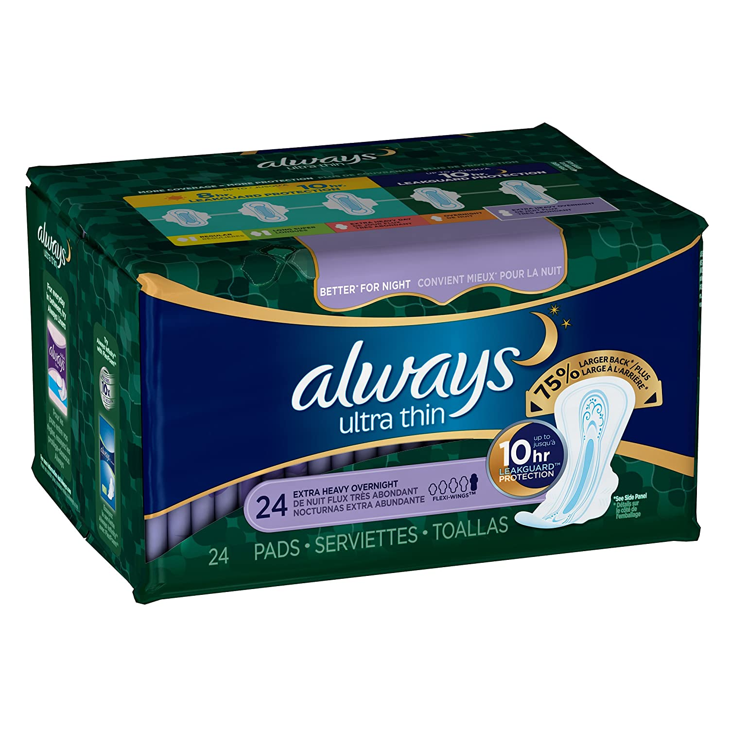 Amazon.com: Always Ultra Thin Extra Heavy Overnight Pads, 24 Count: Health & Personal Care