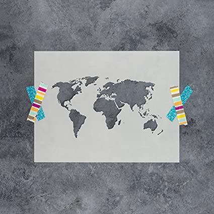 World Map Stencil Template For Walls And Crafts   Reusable Stencils For  Painting In Small U0026