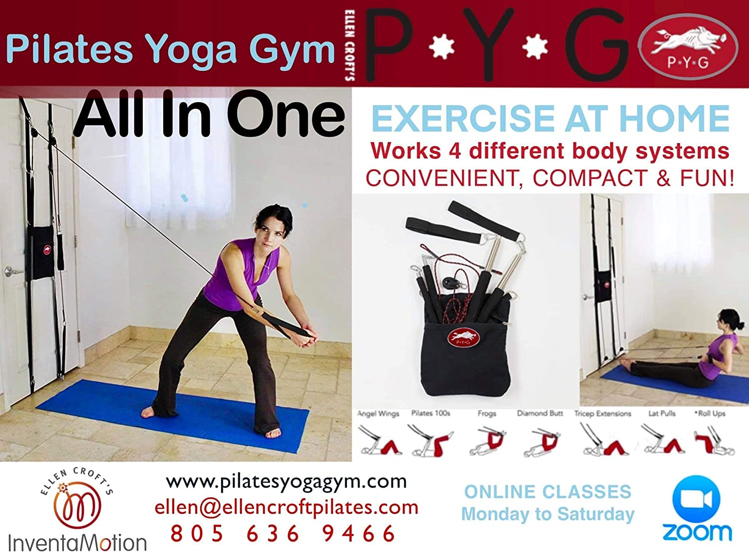 Amazon Com Ellen Croft S Pilates Yoga Gym P Y G Total Body Workout 50 Pilates Moves 10 Yoga 10 Cable Crossover Free On Line Classes Sports Outdoors