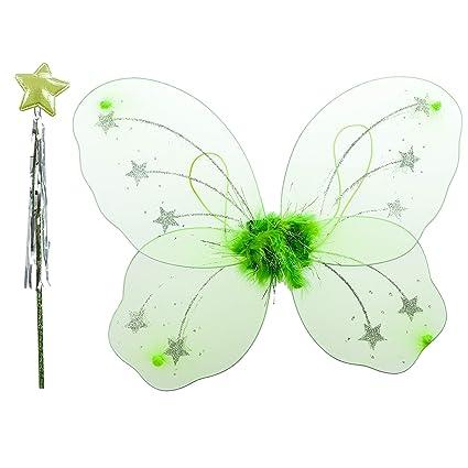 aa716daab138 Girls Fairy Angel Wings and Wand - Party Fancy Dress Nativity Scene ...
