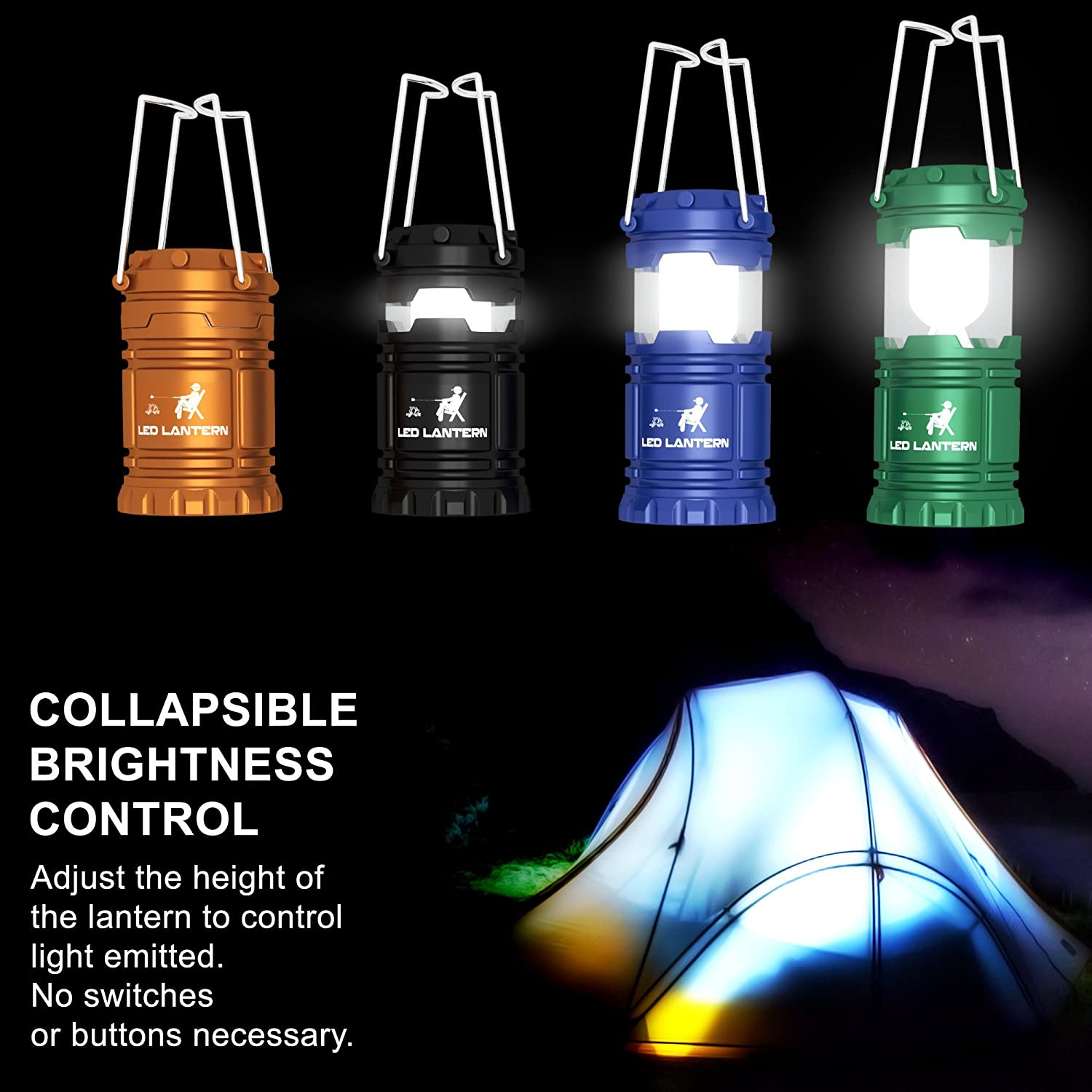 MalloMe LED Camping Lantern Flashlights 4 Pack 2 Pack- Super Bright Lumen Portable Outdoor Emergency Lamp Lights