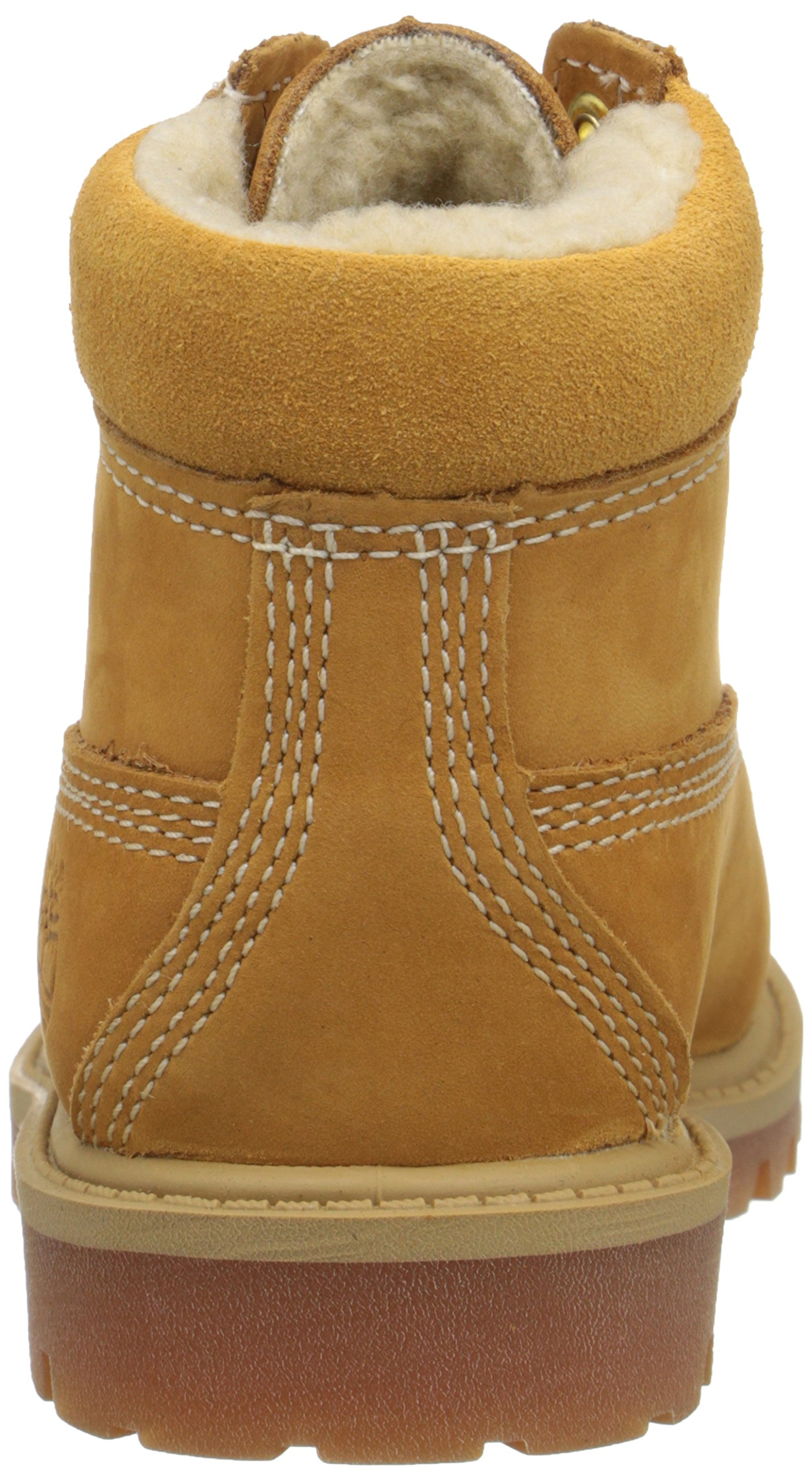 Timberland 6 Inch Premium With Faux Shearling Boot (Toddler/Little Kid/Big Kid), Wheat Nubuck, 4 M US Big Kid by Timberland (Image #2)