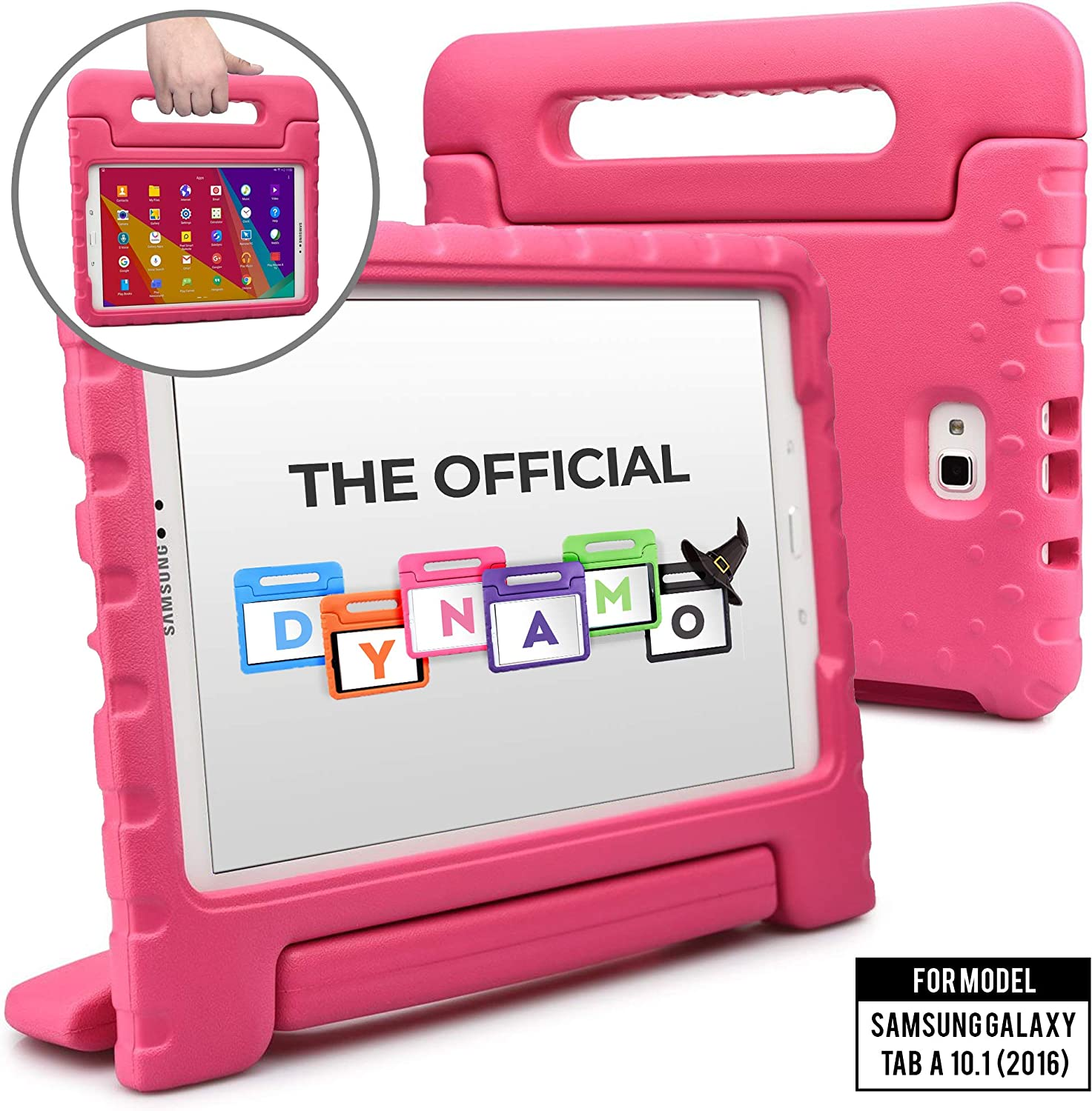 Cooper Dynamo [Rugged Kids Case] Protective Case for Samsung Tab A 10.1 (2016) | Child Proof Cover with Stand, Handle, Screen Protector (Pink)
