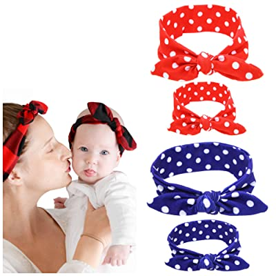 Mother Daughter Bandana Style Headwrap & Bow Hair Ties - Cotton & Spandex Stretches For Best Comfort & Fit - Baby & Mom Dress Up Scarf Head Band Wrap In Classic Colors - 2 PK
