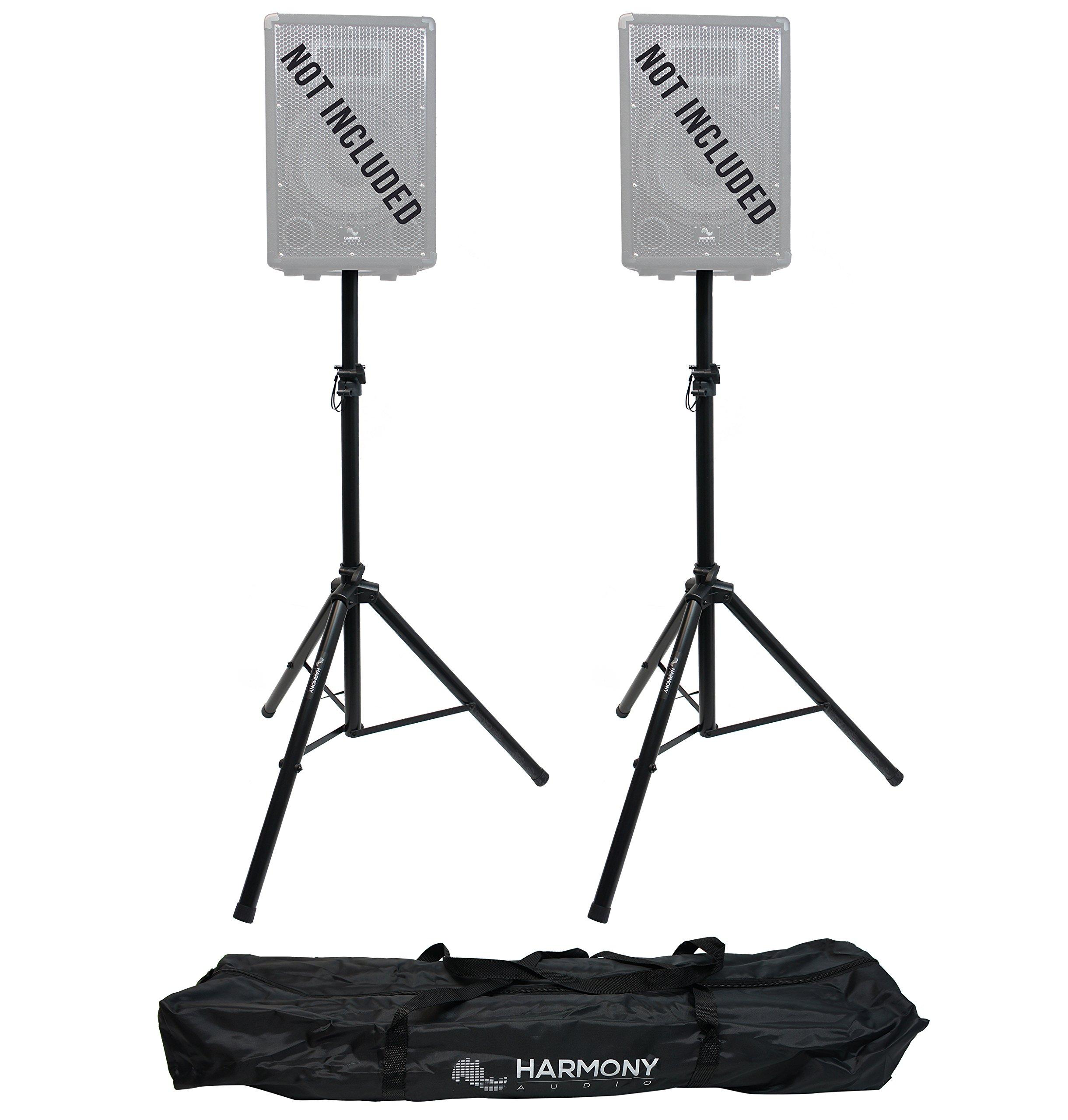 Harmony Audio HA-DSBG Pro Audio DJ (2) Portable Tripod Speaker Stand Pair & Transport Bag