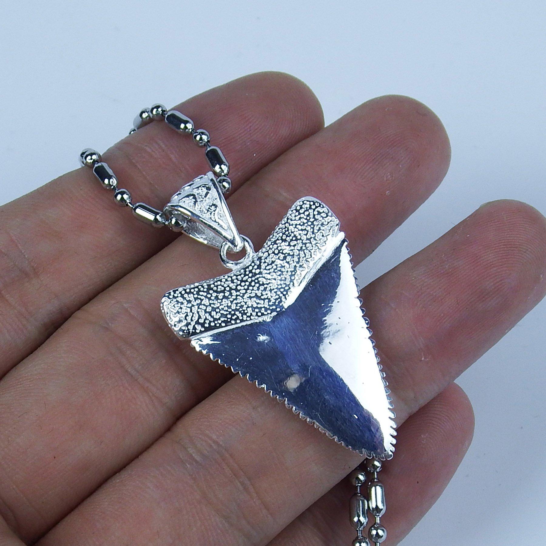 GemShark 15g Sterling Silver Necklace Pendant Great White Shark Tooth for Men Women by GemShark (Image #7)