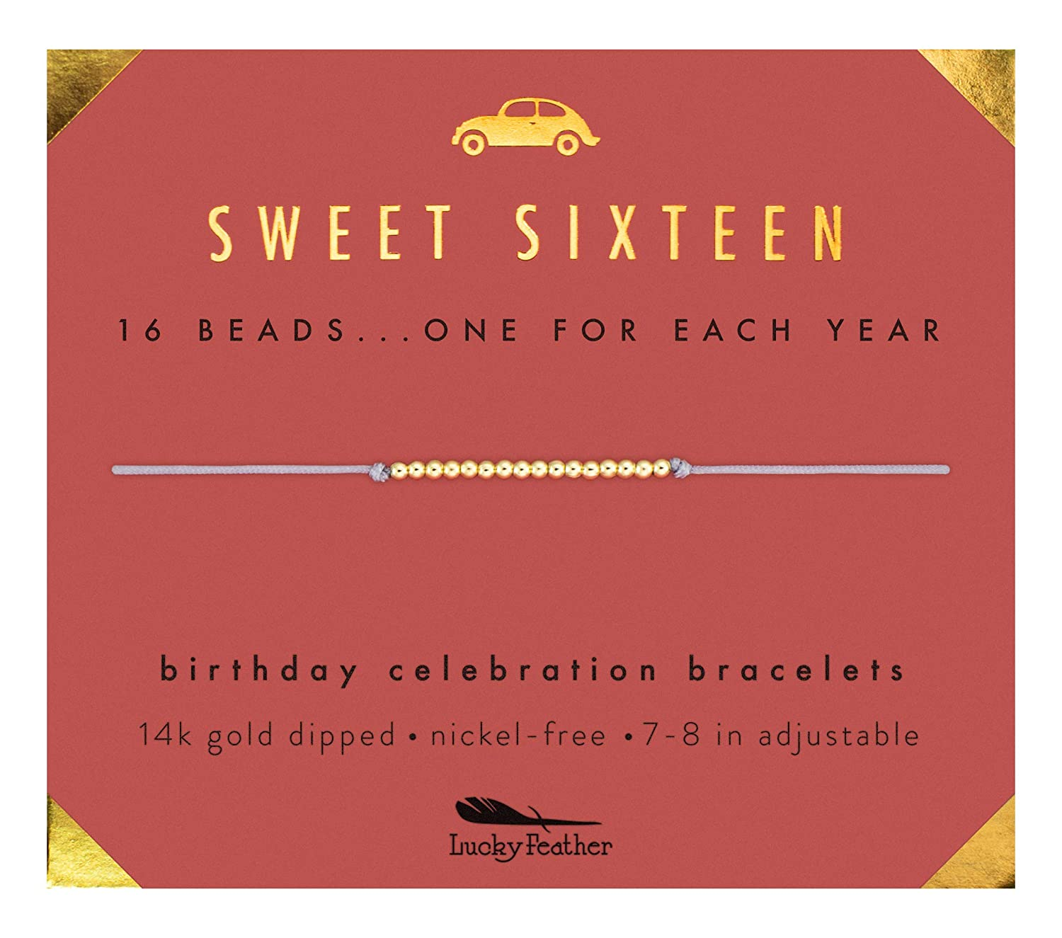 Lucky Feather Sweet 16 Gifts For Girls 16th Birthday Bracelet Gift Idea For 16 Year Old Girls With 14k Gold Dipped Beads On Adjustable Cord